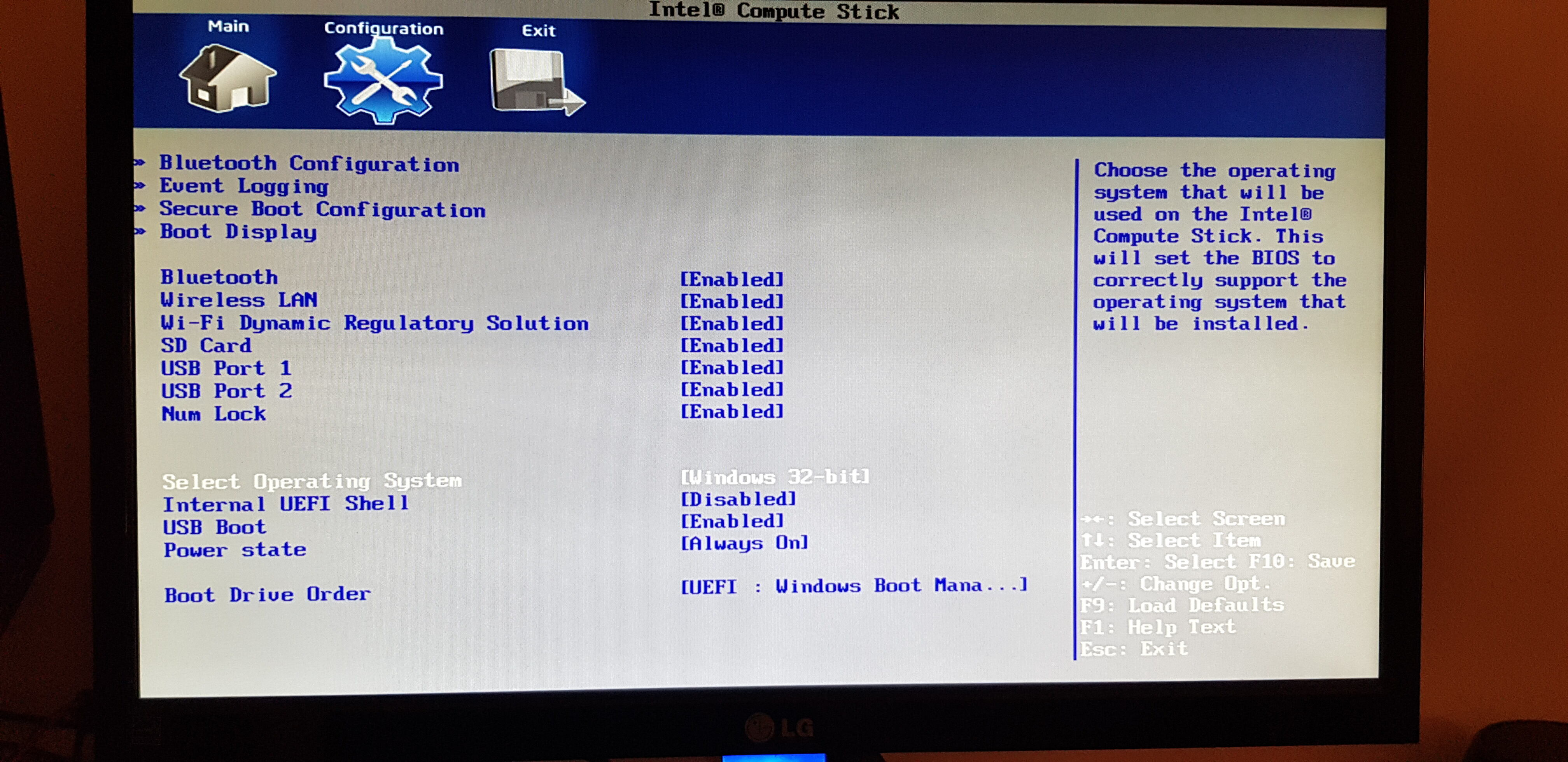 BIOS default settings